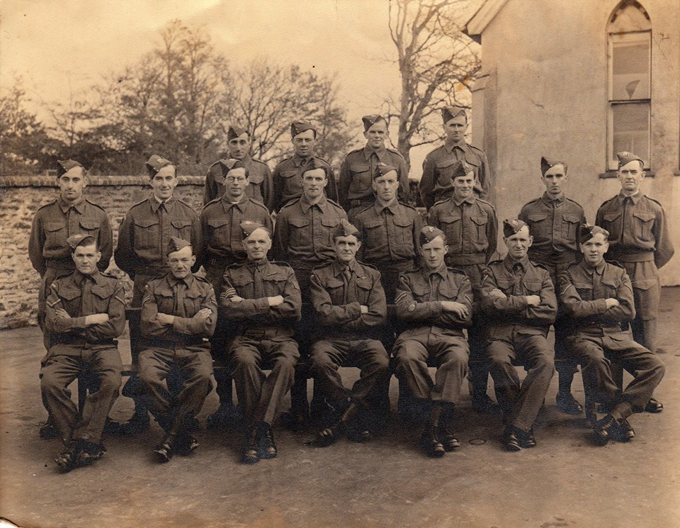 North Petherwin Homeguard. Photo courtesy of Charles Tucker. 3rd row from left: ?, ?, Frank Jones, ? 2nd  row from left Albert Werren, Gordon Uglow, ? Fry, Jack Sloman, Tom Werren 1st row Roy Neale, ?, Will Ridgman,  Charlie Hilson, ?,Dan Gilbert ?, ?.