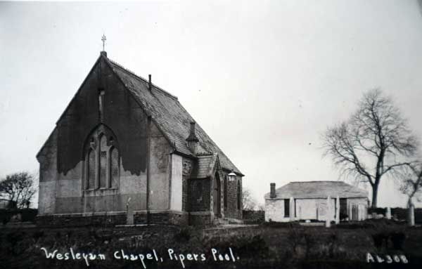 Pipers Pool Chapel c.1900. The building on the right is the original Eberneezer Chapel and was replaced with the new one when it fell into disrepair. Photo courtesy of Peter Gilbert