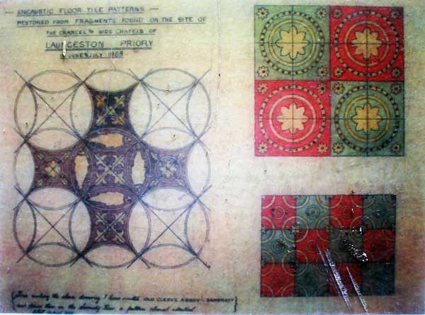 Above Plan of the Floor tiles drawn by Otho Peter.