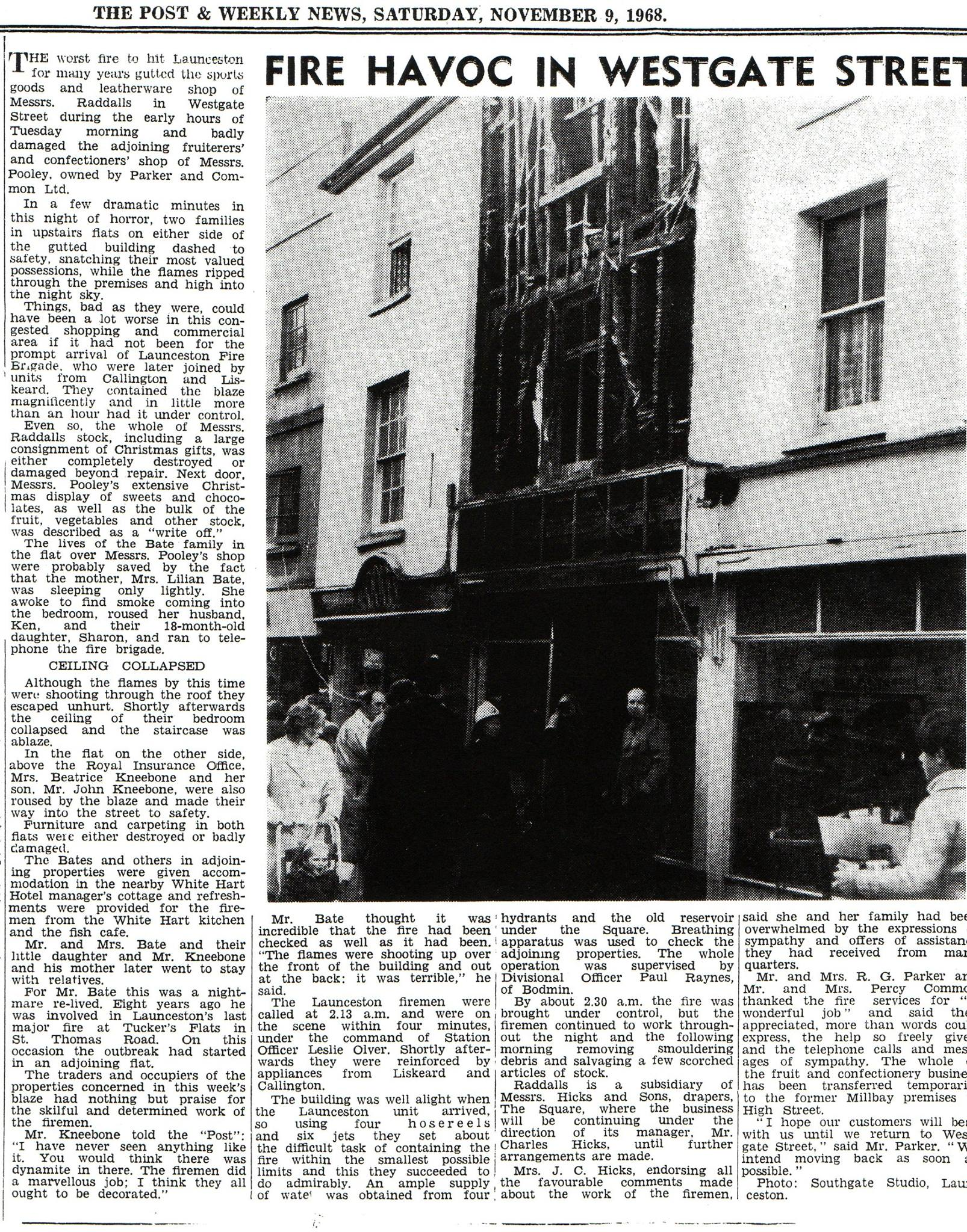Article on the Raddalls fire in Westgate Street in November 1968.