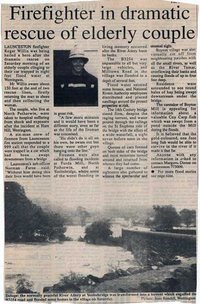 Article from 1995 and the rescue of an elderly couple at Ham Mill by Roger Willis.