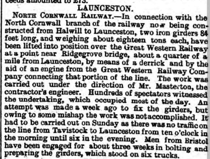 royal-cornwall-gazette-2nd-october-1885-the-placement-of-iron-girders-over-the-gwr