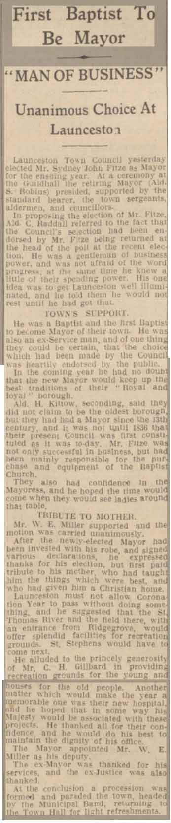 Article of Sidney becoming mayor in 1936.