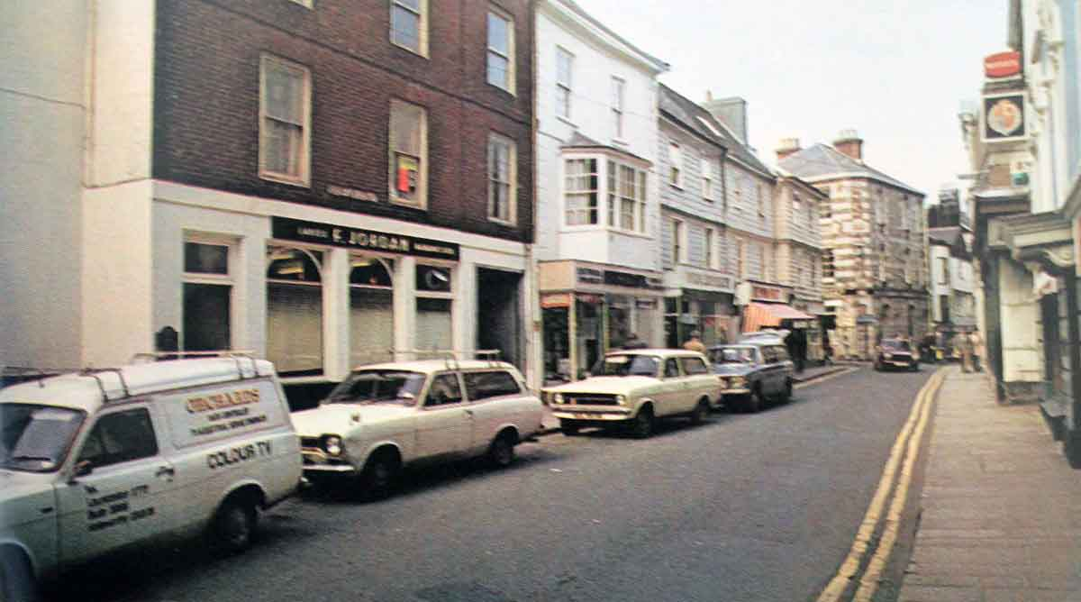 Frank Jordan's hairdressing shop in Southgate street, Launceston in the mid 1970's.