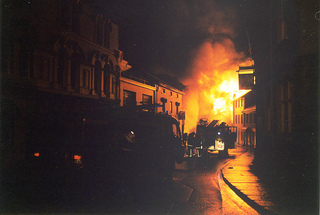 The 1992 fire at Spry's Garage in full flow.