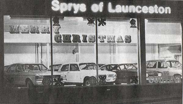 Spry's showroom at Christmas 1976.
