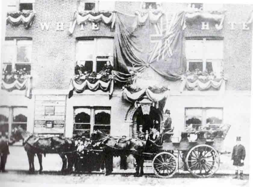 The White Hart decorated for the 1887 Golden Jubilee of Queen Victoria.