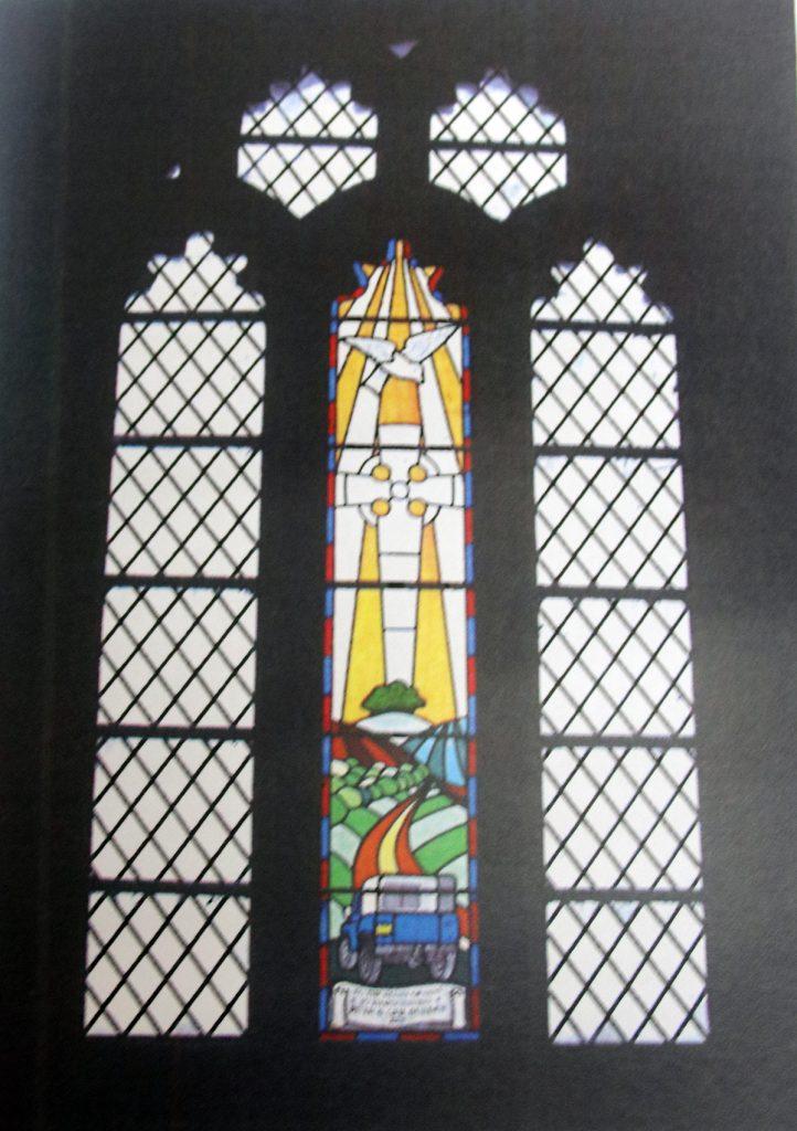 Trecarrel Manor Hall stained glas window.
