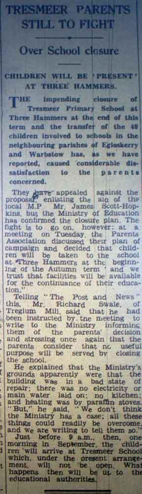 tresmeer-school-closure-june-1964