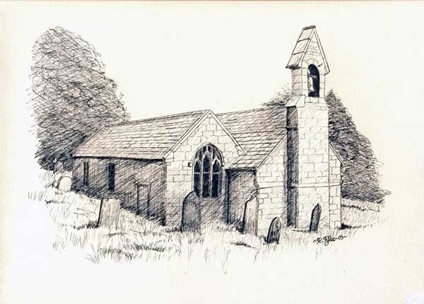 Trewen Church line drawing by Roger Pyke.