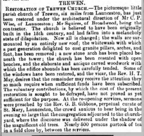 Trewen Church restoration article from 1863.