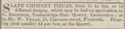 1856 advert for Yeolmbridge Slate Quarry.