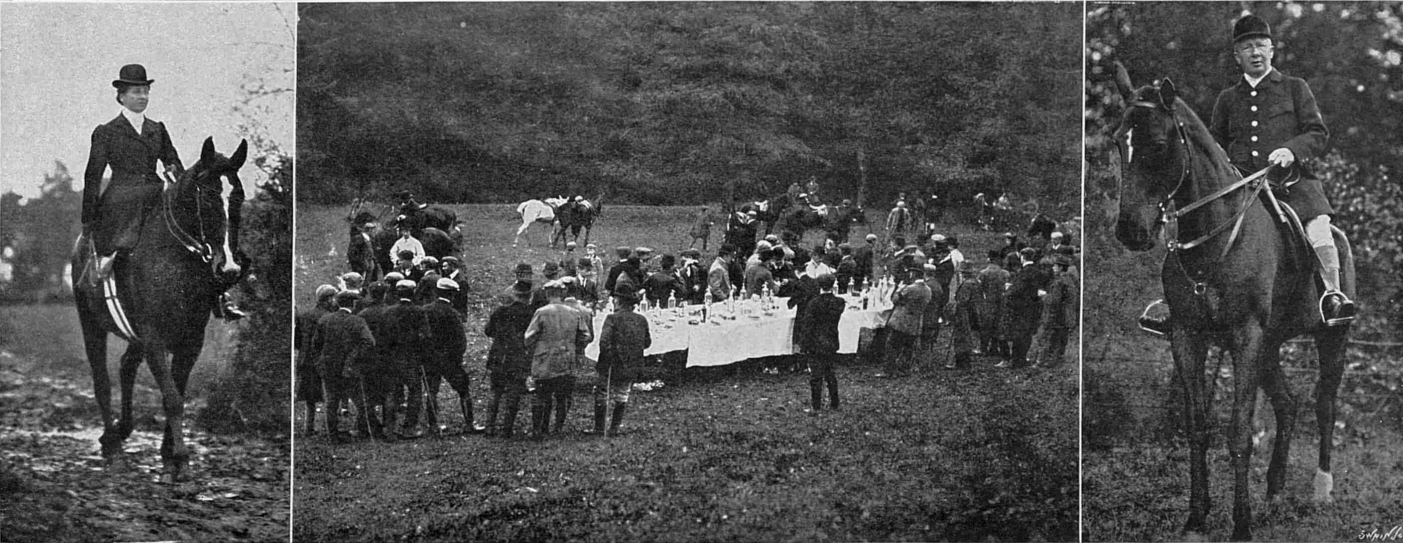 1909 opening of the Tetcott Hunt meet at Hornacott with Jane Shuker on the left and Charles on the right.