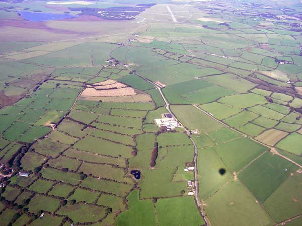 Aerial of Davidstow Morr with the old airdrome in 2005.