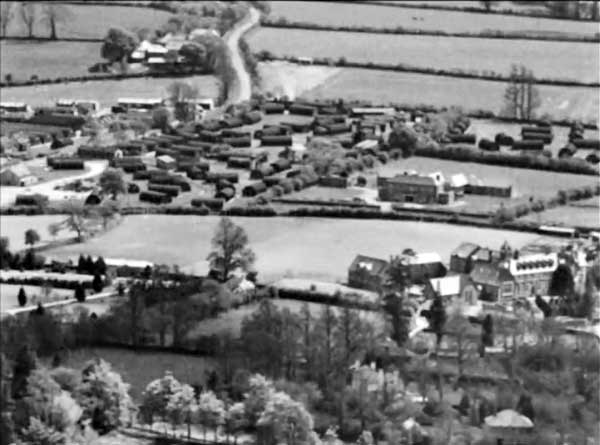 Aerial of Scarne and the war time nissen huts c.1950's.