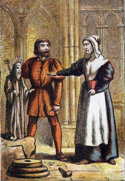 Foxe's Book of Martyrs Plate VIII - Prest's Wife and the Stonemason.