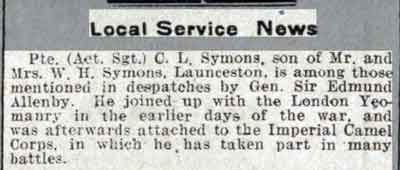 Charles Symons mentioned in dispatches from the Western Times 21 January 1918.