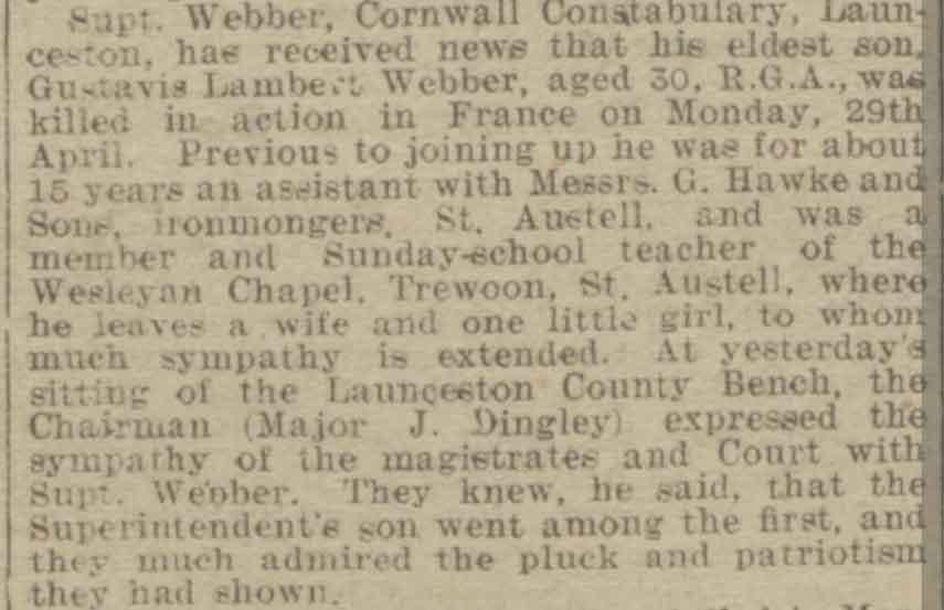 gustavis-lambert-webber-death-notification-western-times-08-may-1918