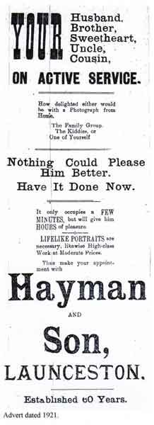 hayman-and-son-advert-church-street-launceston-from-1921