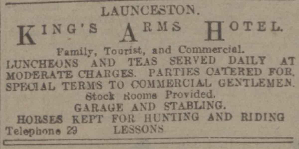 kings-arms-launceston-advert-western-morning-news-1929