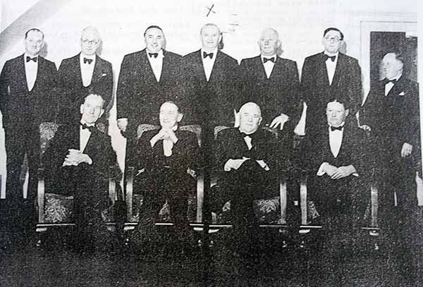 Above Launceston Golf club past Captains at a dinner held in 1951 at the White Hart Hotel. Standing left to right Reg Prout senior, Bill Matthews,Roger Parnell, Stuart Peter, Bill Kivell, Ted Longman and Fred Smith. Seated Phil Sanders, George Wilson, Tom Fulford and John Dingle
