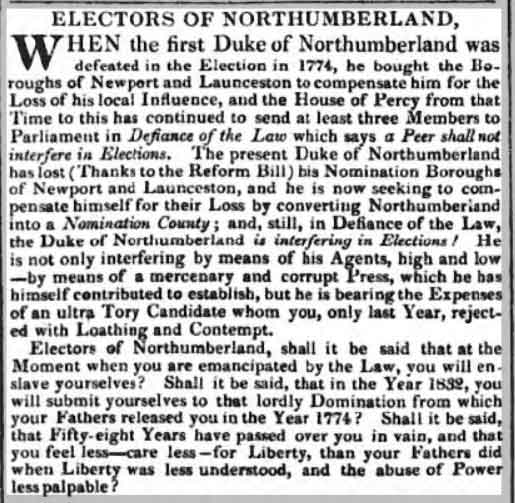 northumberland-and-the-election-in-july-1832