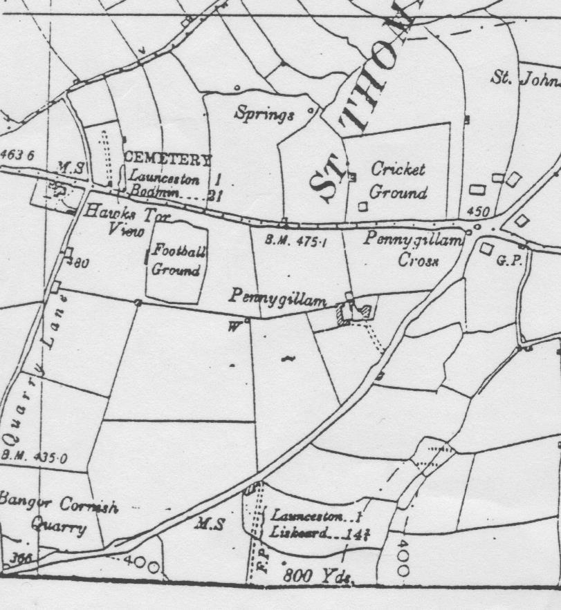 1930 Map of Pennygillam, Launceston.