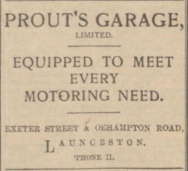 prouts-garage-advert-launceston-western-morning-news-1929