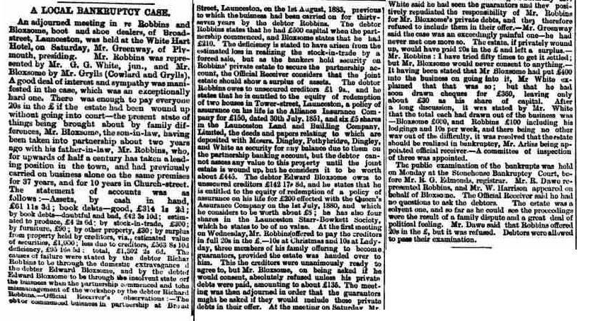 Richard Robbins Bankruptcy 1885.