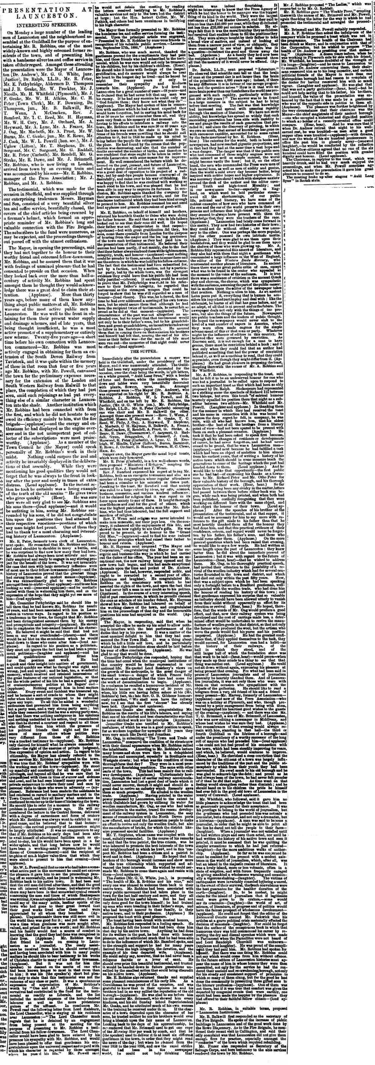 Richard Robbins Testamonial Presentation from the Cornish & Devon Post 02 October 1886