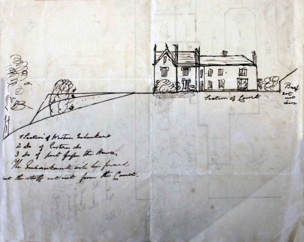 Side elevation plan of Trebursye Manor from the 1840's