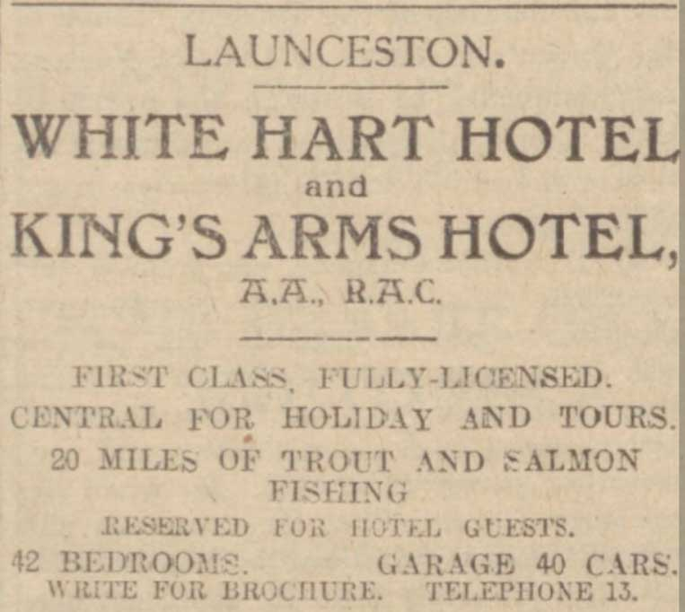 white-hart-and-kings-arms-advert-western-morning-news-1929