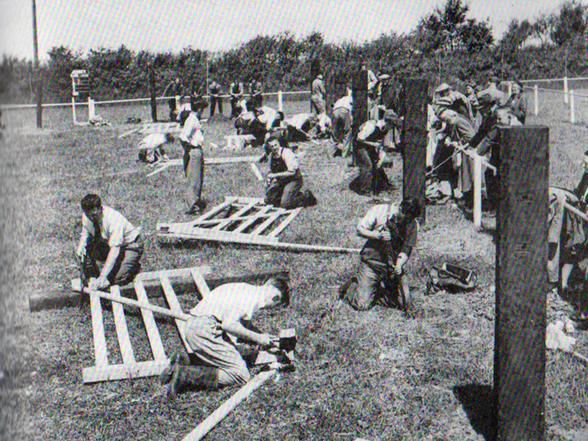 Gate making at the 1956 Bath and West Show held at Launceston.