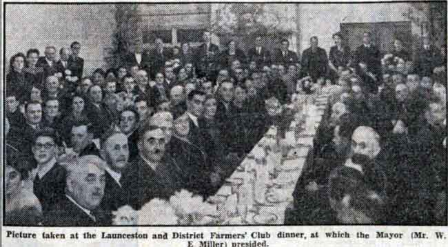 Launceston Farmers Club dinner in 1945