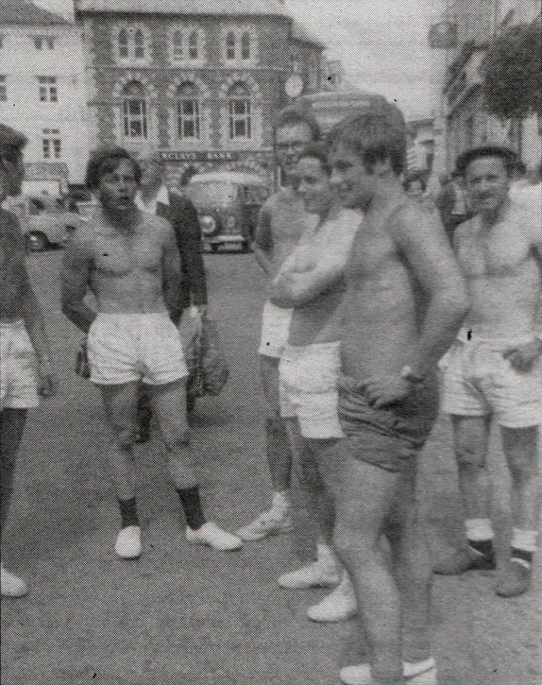 Members of the Launceston YFC getting ready for a charity run in 1969. L to R C. Stanbury, S. Uglow, R. Venning, J. Sloman, R. Marshall, and G. Martyn