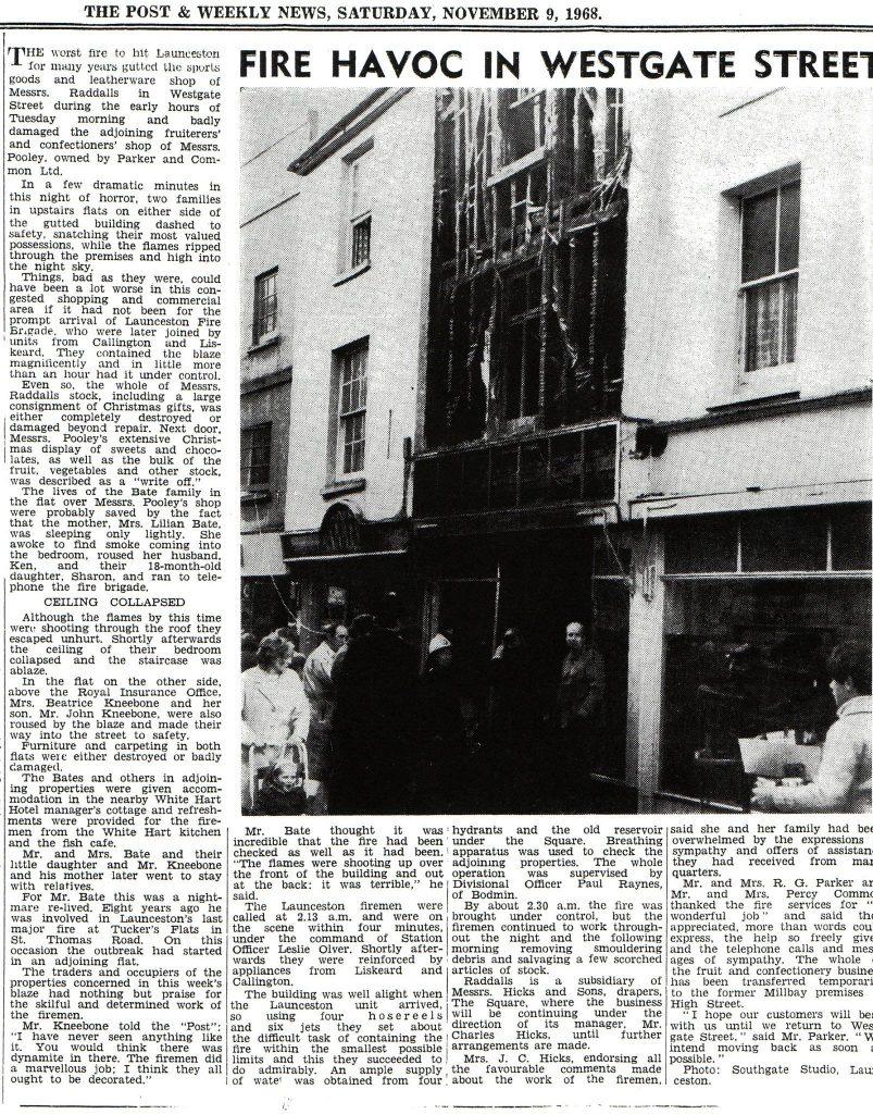November 1968 fire at Raddalls, Westgate Street