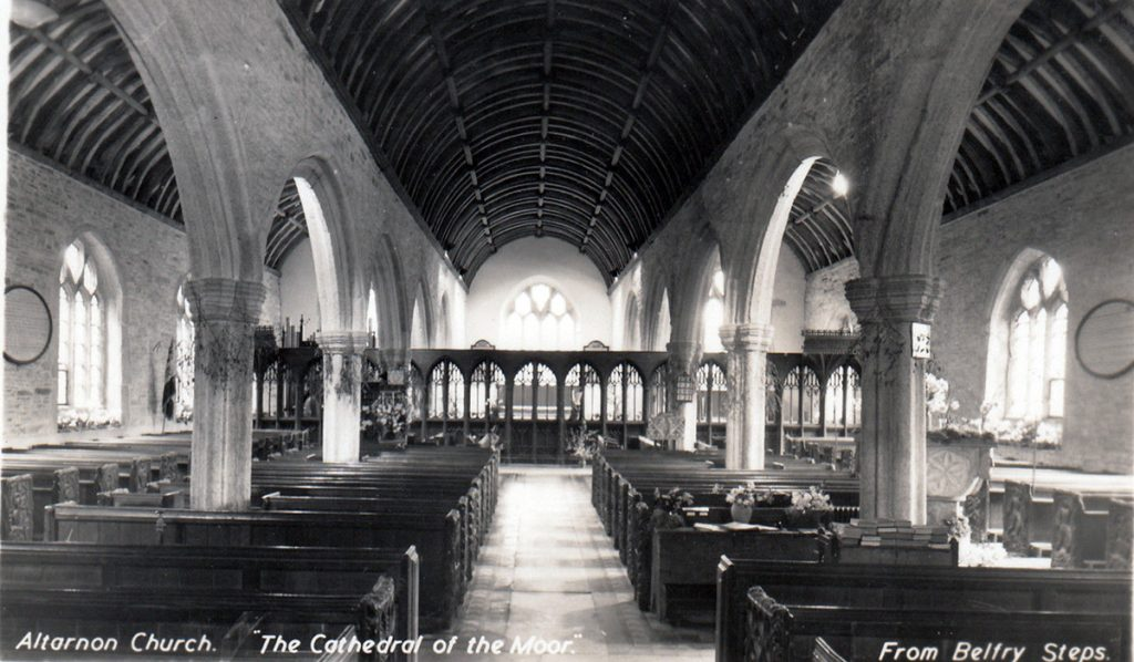 Altarnun Church interior in 1930