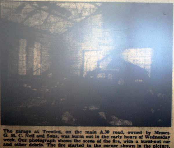 Garage Fire at Trewint in 1957.