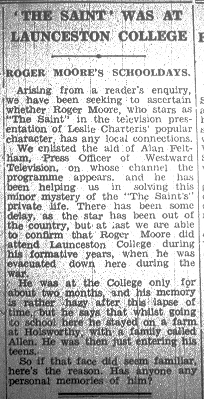 The Saint at Launceston College artcile from 1964