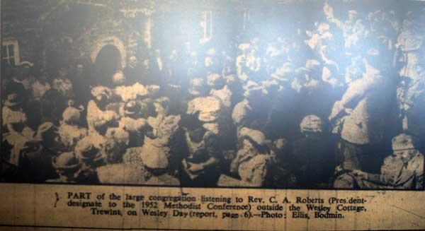 Wesleyan Service at Wesley Cottage, Trewint in 1952.