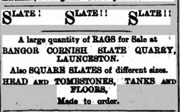 1885 Bangors Slate Quarry advert