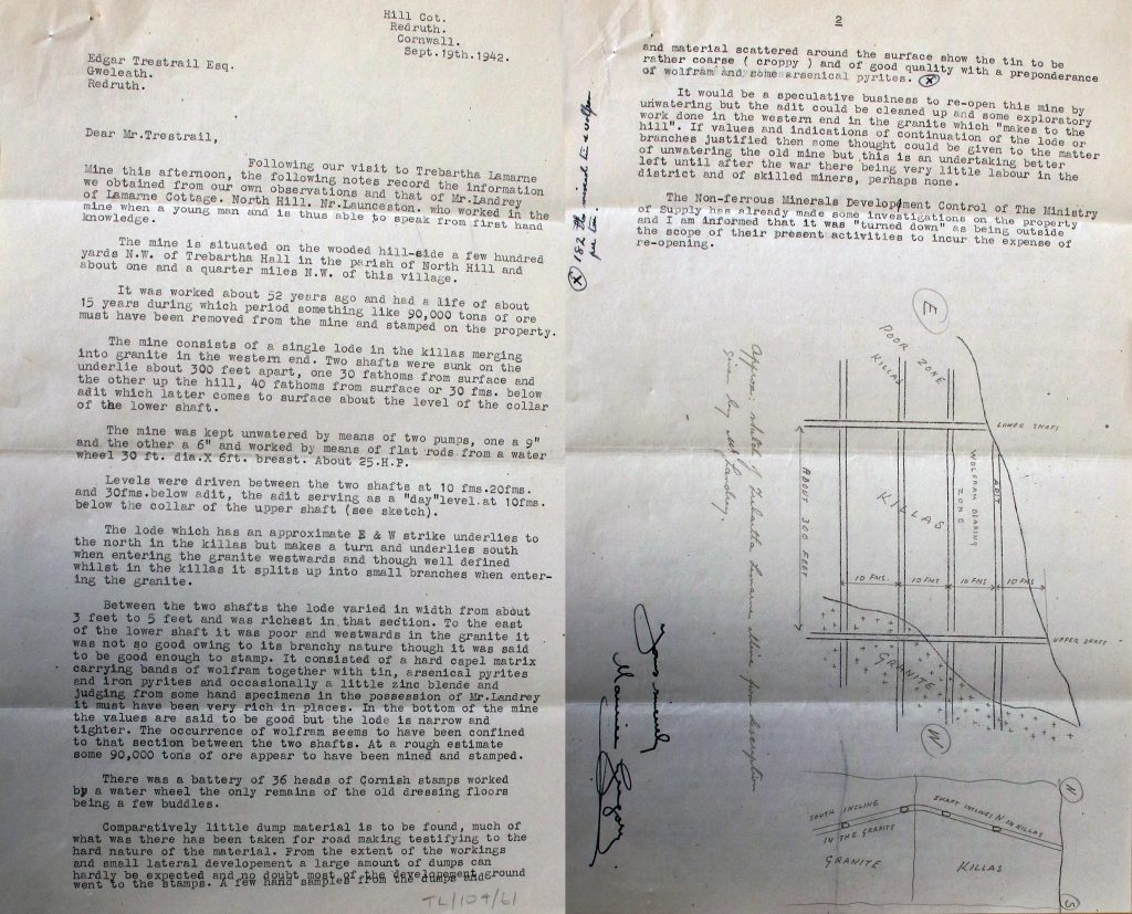 1942 report into Trebartha-Lemarne Mine