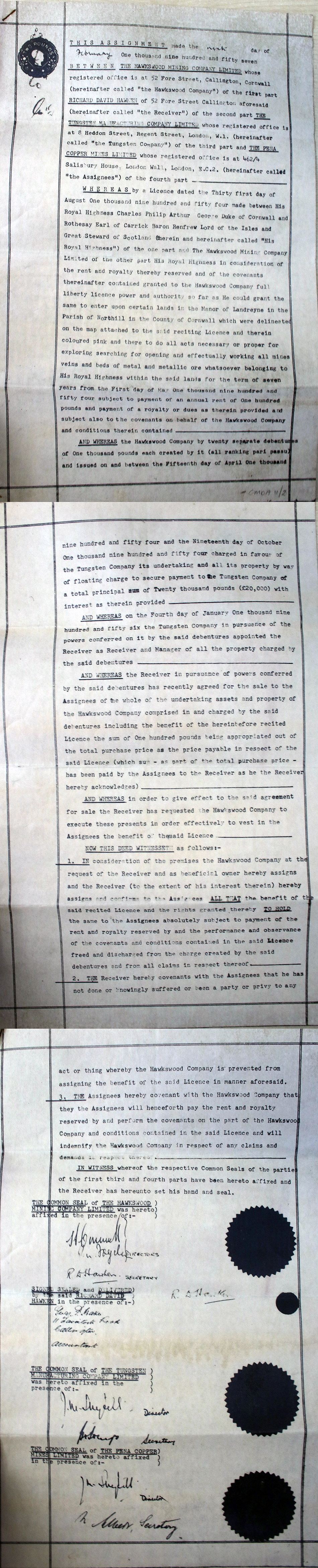 1957 Hawkswood Mine Agreement