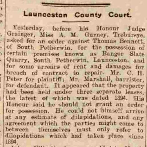 Bangors Slate Quarry 1909 article