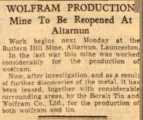 Buttern Hill Mine re-opening from the Western Morning News 30 April 1940