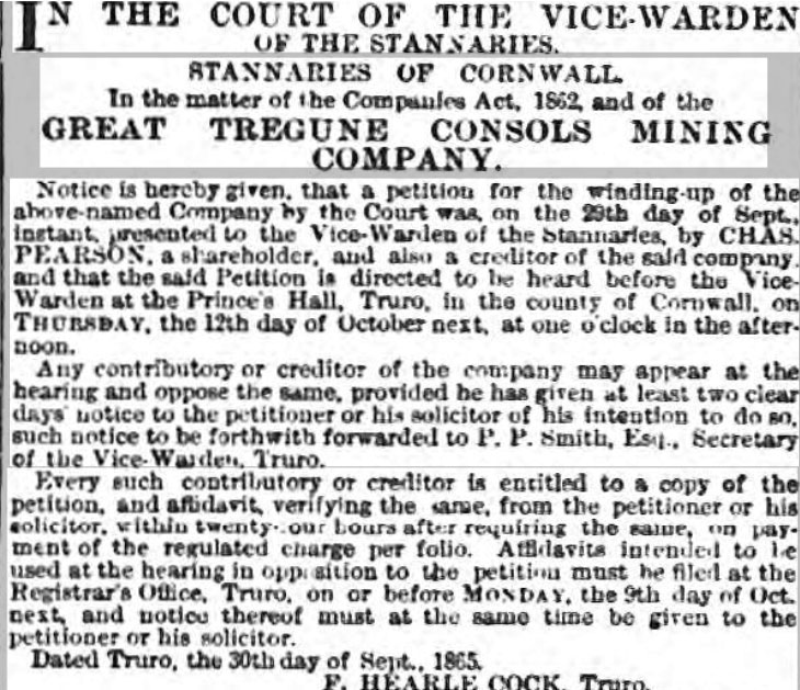 Great Tregune Consols Mine winding up notice from October 2nd 1865