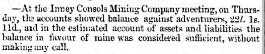 Inney Consols April 11th, 1856