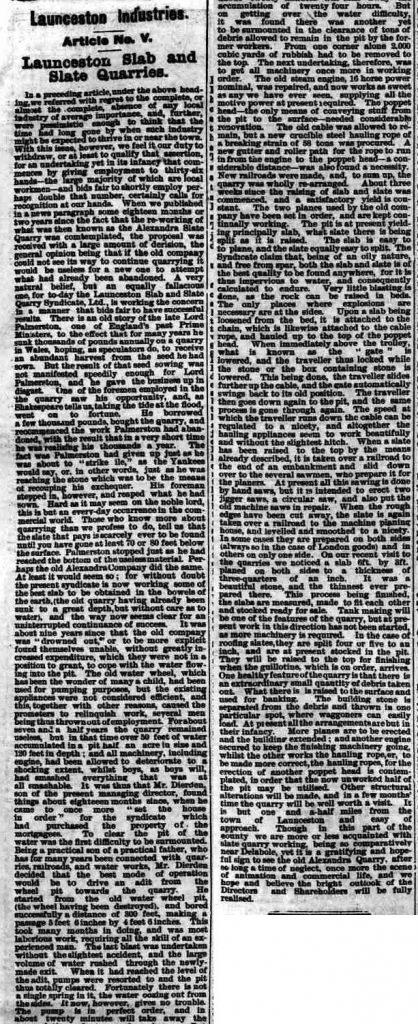Launceston Slab and Slate Co. 1896 article