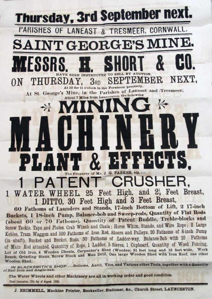 St. Georges Mine Equipment sale September 1885 poster