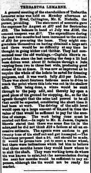 Trebartha Lemarne Mine report 1881